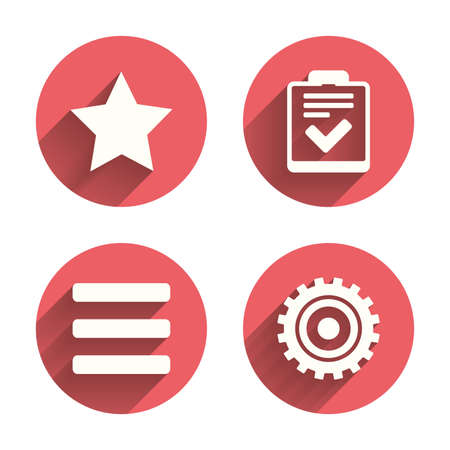 checklist: Star favorite and menu list icons. Checklist and cogwheel gear sign symbols. Pink circles flat buttons with shadow. Vector Illustration