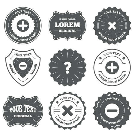 enlarge: Vintage emblems, labels. Plus and minus icons. Delete and question FAQ mark signs. Enlarge zoom symbol. Design elements. Vector