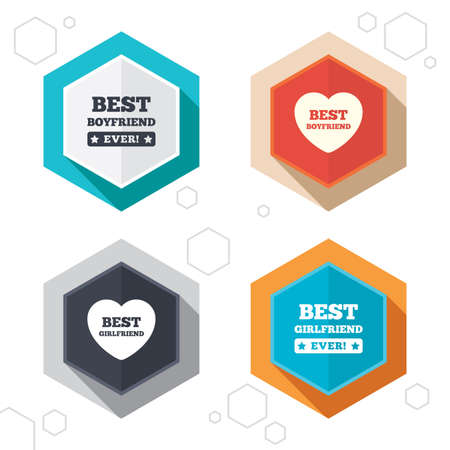 boyfriend: Hexagon buttons. Best boyfriend and girlfriend icons. Heart love signs. Award symbol. Labels with shadow. Vector Illustration