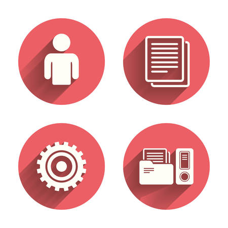 icon buttons: Accounting workflow icons. Human silhouette, cogwheel gear and documents folders signs symbols. Pink circles flat buttons with shadow. Vector