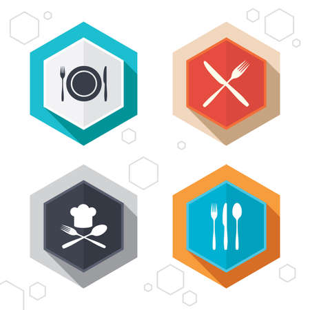 knifes: Hexagon buttons. Plate dish with forks and knifes icons. Chief hat sign. Crosswise cutlery symbol. Dining etiquette. Labels with shadow. Vector