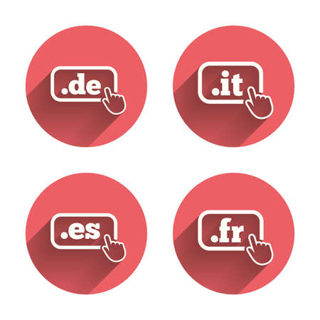 vector es: Top-level internet domain icons. De, It, Es and Fr symbols with hand pointer. Unique national DNS names. Pink circles flat buttons with shadow. Vector Illustration