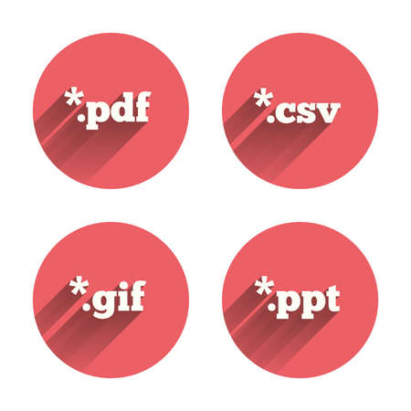 Document icons. File extensions symbols. PDF, GIF, CSV and PPT presentation signs. Pink circles flat buttons with shadow. Vector Ilustrace