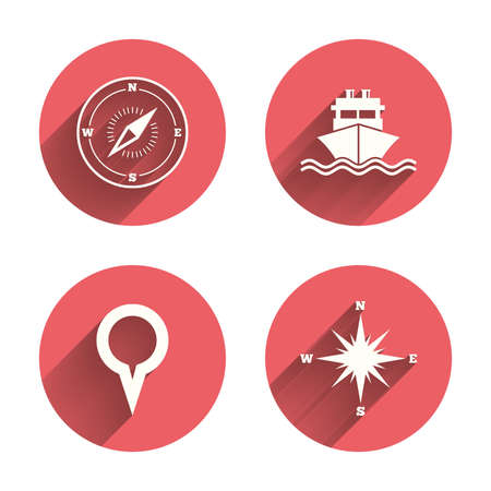 rose silhouette: Windrose navigation compass icons. Shipping delivery sign. Location map pointer symbol. Pink circles flat buttons with shadow. Vector
