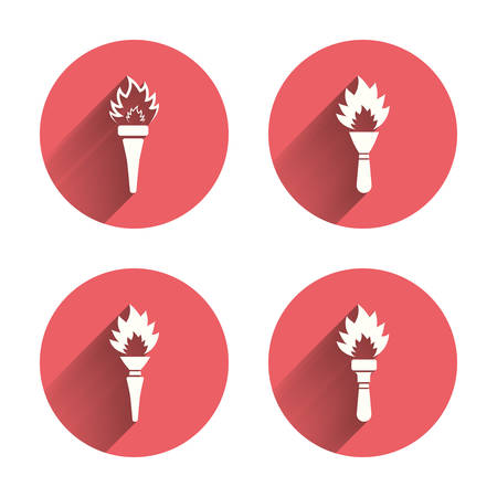torch light: Torch flame icons. Fire flaming symbols. Hand tool which provides light or heat. Pink circles flat buttons with shadow. Vector Illustration
