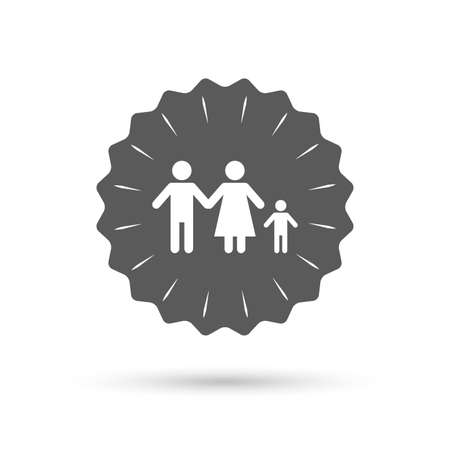 one child: Vintage emblem medal. Family with one child sign icon. Complete family symbol. Classic flat icon. Vector Illustration