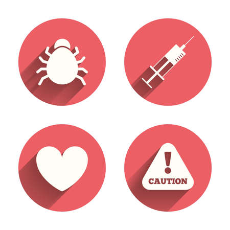 syringe inoculation: Bug and vaccine syringe injection icons. Heart and caution with exclamation sign symbols. Pink circles flat buttons with shadow. Vector