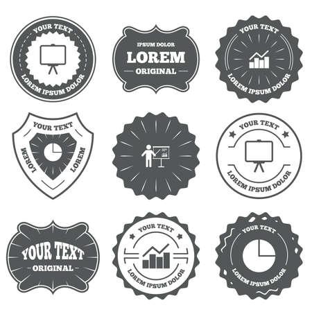 Emblèmes Vintage, étiquettes. Graphique Diagramme Diagramme Icône ...