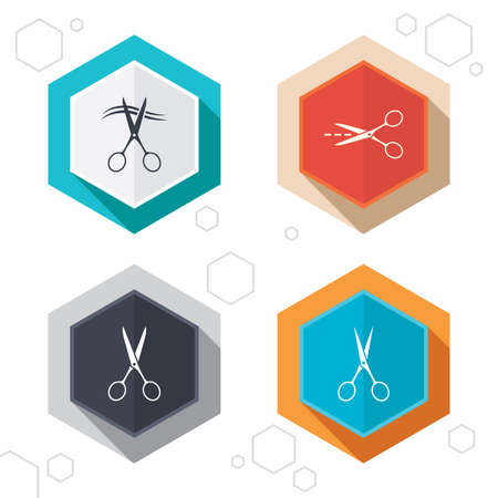 cut hair: Hexagon buttons. Scissors icons. Hairdresser or barbershop symbol. Scissors cut hair. Cut dash dotted line. Tailor symbol. Labels with shadow. Vector
