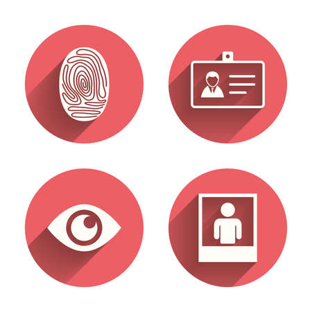 identity card: Identity ID card badge icons. Eye and fingerprint symbols. Authentication signs. Photo frame with human person. Pink circles flat buttons with shadow. Vector