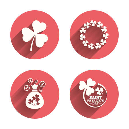 clover buttons: Saint Patrick day icons. Money bag with clover sign. Wreath of trefoil shamrock clovers. Symbol of good luck. Pink circles flat buttons with shadow. Vector
