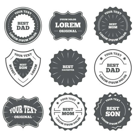 dad son: Vintage emblems, labels. Best mom and dad, son and daughter icons. Award symbols. Design elements. Vector
