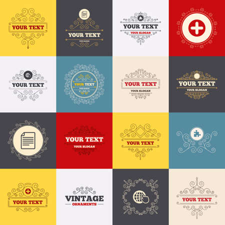 puzzle globe: Vintage frames, labels. Plus add circle and puzzle piece icons. Document file and globe with hand pointer sign symbols. Scroll elements. Vector