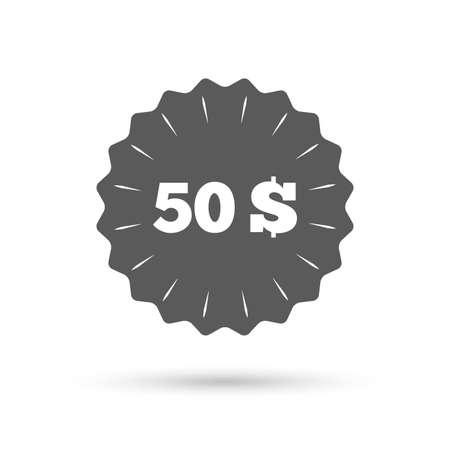 usd: Vintage emblem medal. 50 Dollars sign icon. USD currency symbol. Money label. Classic flat icon. Vector