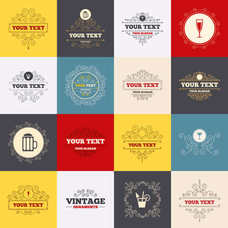 champagne orange: Vintage frames, labels. Alcoholic drinks icons. Champagne sparkling wine and beer symbols. Wine glass and cocktail signs. Scroll elements. Vector