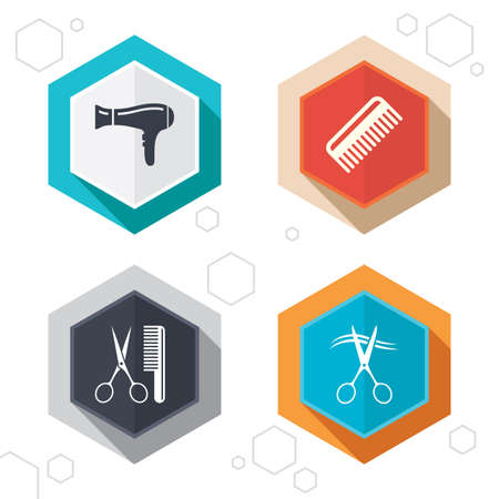blow drying: Hexagon buttons. Hairdresser icons. Scissors cut hair symbol. Comb hair with hairdryer sign. Labels with shadow. Vector Illustration