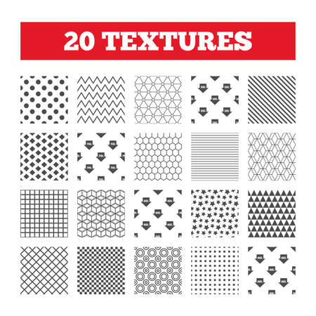 50 to 60: Seamless patterns. Endless textures. Sale arrow tag icons. Discount special offer symbols. 50%, 60%, 70% and 80% percent discount signs. Geometric tiles, rhombus. Vector