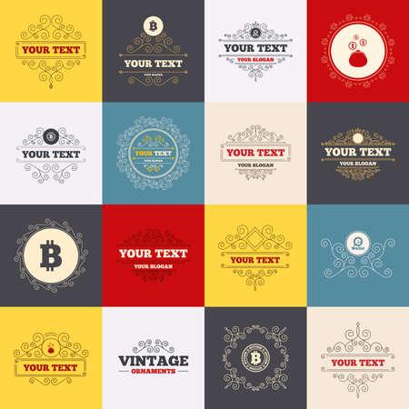 p2p: Vintage frames, labels. Bitcoin icons. Electronic wallet sign. Cash money symbol. Scroll elements. Vector Illustration