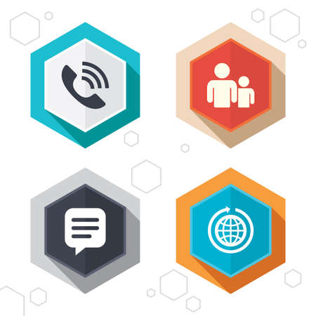 world  hexagon: Hexagon buttons. Group of people and share icons. Speech bubble and round the world arrow symbols. Communication signs. Labels with shadow. Vector Illustration