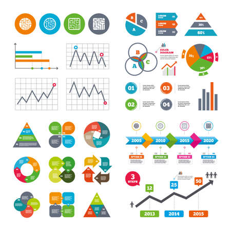charts graphs: Business data pie charts graphs. Circuit board icons. Technology scheme circles and squares sign symbols. Market report presentation. Vector Illustration