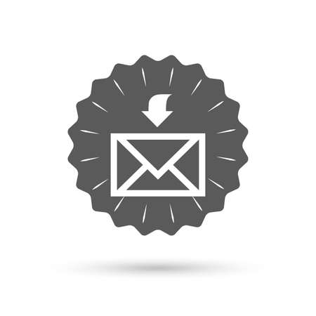 receive: Vintage emblem medal. Mail receive icon. Envelope symbol. Get message sign. Mail navigation button. Classic flat icon. Vector Illustration