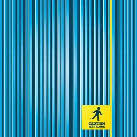 wet floor caution sign: Las l�neas de fondo azul. Precauci�n mojada icono de se�alizaci�n en el suelo. S�mbolo caer humano. Etiqueta etiqueta amarilla. Vector