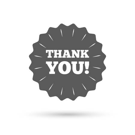 thank you sign: Vintage emblem medal. Thank you sign icon. Gratitude symbol. Classic flat icon. Vector