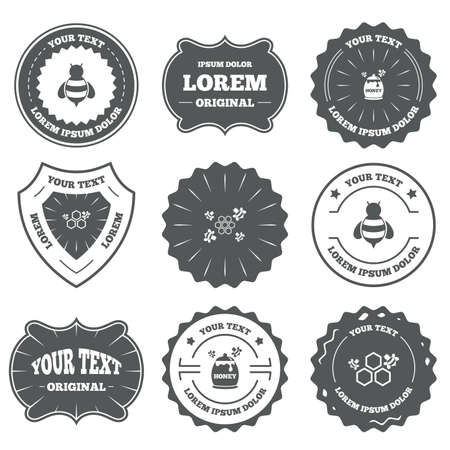 nectars: Vintage emblems, labels. Honey icon. Honeycomb cells with bees symbol. Sweet natural food signs. Design elements. Vector