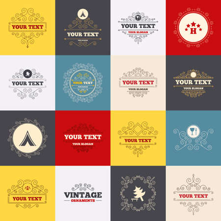 break down: Vintage frames, labels. Food, hotel, camping tent and tree icons. Wineglass and fork. Break down tree. Road signs. Scroll elements. Vector