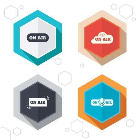 live on air: Hexagon buttons. On air icons. Live stream signs. Microphone symbol. Labels with shadow. Vector
