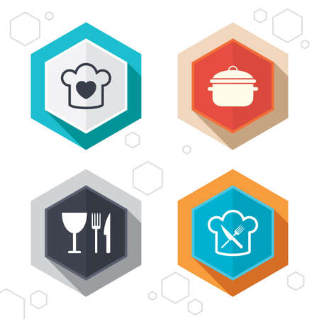 stew: Hexagon buttons. Chief hat with heart and cooking pan icons. Crosswise fork and knife signs. Boil or stew food symbol. Labels with shadow. Vector