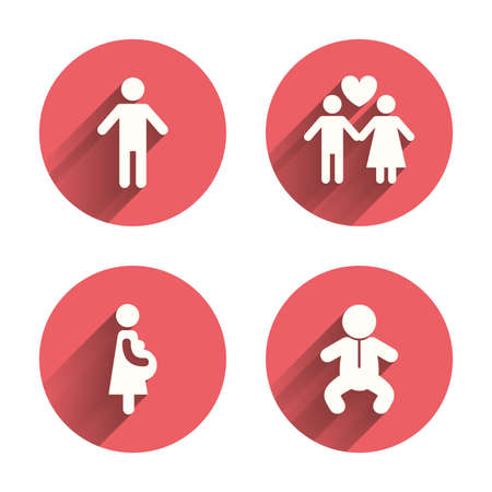 pregnancy: Family lifetime icons. Couple love, pregnancy and birth of a child symbols. Human male person sign. Pink circles flat buttons with shadow. Vector Illustration