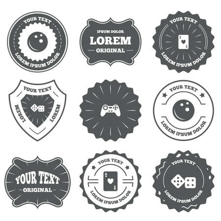 playing video game: Vintage emblems, labels. Bowling and Casino icons. Video game joystick and playing card with dice symbols. Entertainment signs. Design elements. Vector Illustration