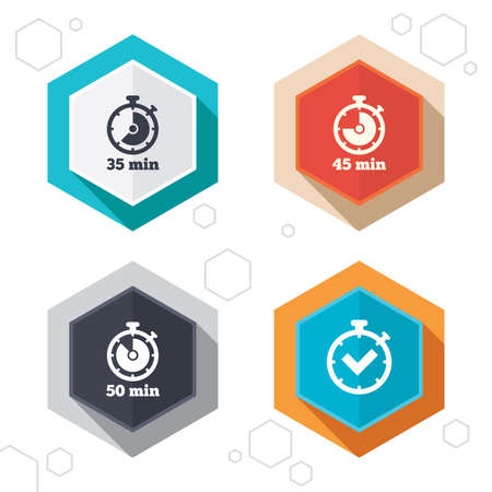 45 50: Hexagon buttons. Timer icons. 35, 45 and 50 minutes stopwatch symbols. Check or Tick mark. Labels with shadow. Vector
