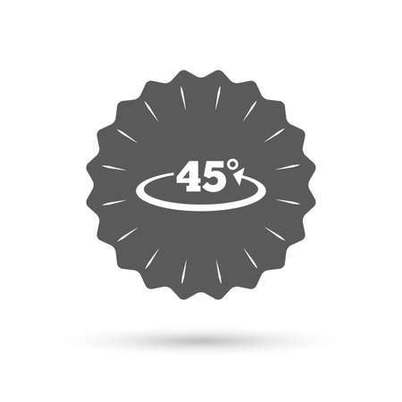 math icon: Vintage emblem medal. Angle 45 degrees sign icon. Geometry math symbol. Classic flat icon. Vector Illustration