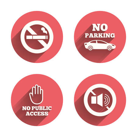 private access: Stop smoking and no sound signs. Private territory parking or public access. Cigarette and hand symbol. Pink circles flat buttons with shadow. Vector