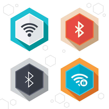 bluetooth: Hexagon buttons. Wifi and Bluetooth icons. Wireless mobile network symbols. Password protected Wi-fi zone. Data transfer sign. Labels with shadow. Vector
