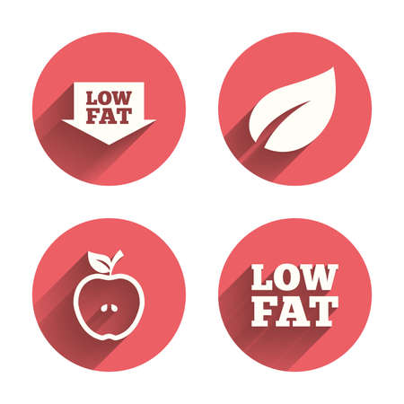 lowfat: Low fat arrow icons. Diets and vegetarian food signs. Apple with leaf symbol. Pink circles flat buttons with shadow. Vector Illustration