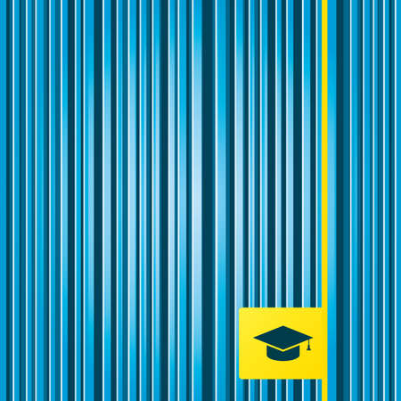 higher: Lines blue background. Graduation cap sign icon. Higher education symbol. Yellow tag label. Vector