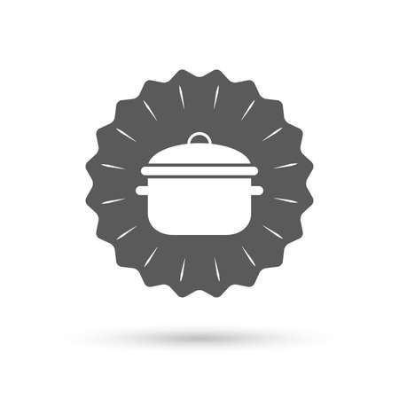 stew: Vintage emblem medal. Cooking pan sign icon. Boil or stew food symbol. Classic flat icon. Vector