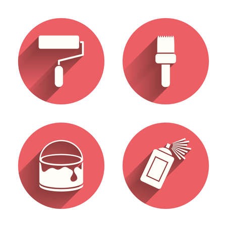 spray paint can: Painting roller, brush icons. Spray can and Bucket of paint signs. Wall repair tool and painting symbol. Pink circles flat buttons with shadow. Vector