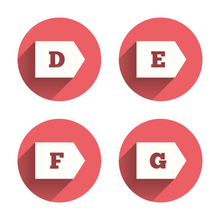 d mark: Energy efficiency class icons. Energy consumption sign symbols. Class D, E, F and G. Pink circles flat buttons with shadow. Vector Illustration