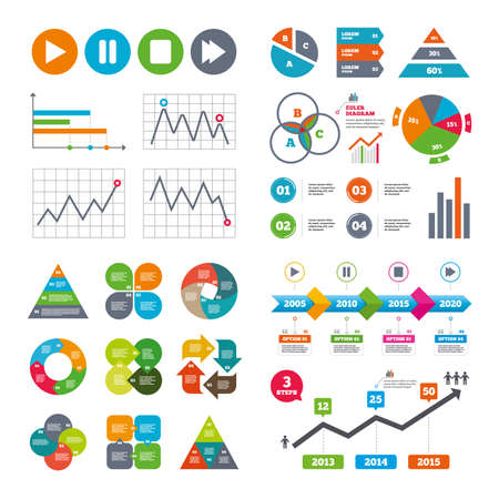 charts and graphs: Business data pie charts graphs. Player navigation icons. Play, stop and pause signs. Next song symbol. Market report presentation. Vector Illustration