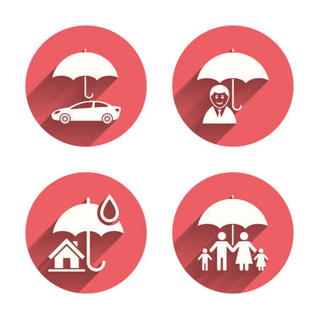 home life: Family, Real estate or Home insurance icons. Life insurance and umbrella symbols. Car protection sign. Pink circles flat buttons with shadow. Vector