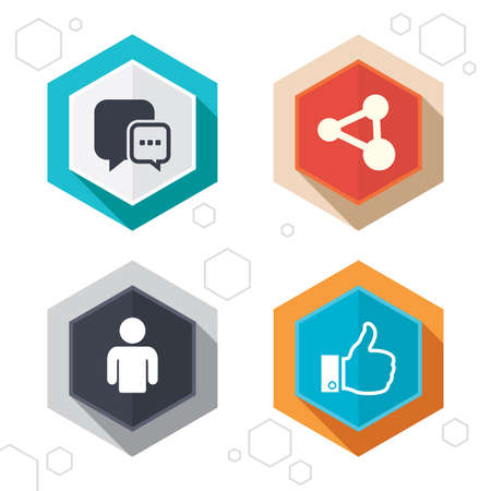 chat up: Hexagon buttons. Social media icons. Chat speech bubble and Share link symbols. Like thumb up finger sign. Human person profile. Labels with shadow. Vector
