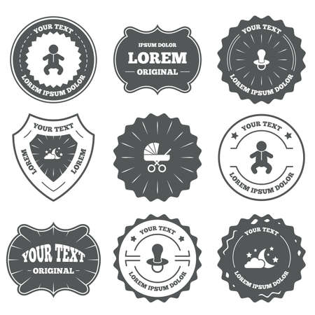 infants: Vintage emblems, labels. Moon and stars symbol. Baby infants icon. Buggy and dummy signs. Child pacifier and pram stroller. Design elements. Vector
