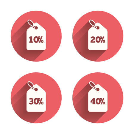 Sale price tag icons. Discount special offer symbols. 10%, 20%, 30% and 40% percent discount signs. Pink circles flat buttons with shadow. Vector Illustration