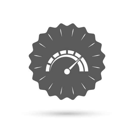 tachometer: Vintage emblem medal. Tachometer sign icon. Revolution-counter symbol. Car speedometer performance. Classic flat icon. Vector
