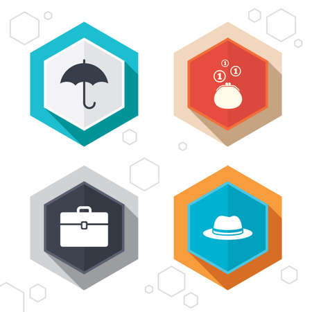 business case: Hexagon buttons. Clothing accessories icons. Umbrella and headdress hat signs. Wallet with cash coins, business case symbols. Labels with shadow. Vector