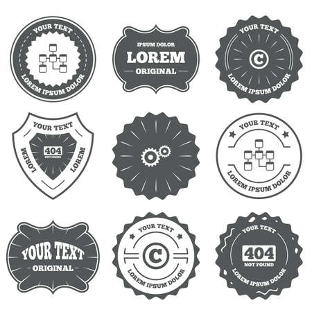 copyrights: Vintage emblems, labels. Website database icon. Copyrights and gear signs. 404 page not found symbol. Under construction. Design elements. Vector